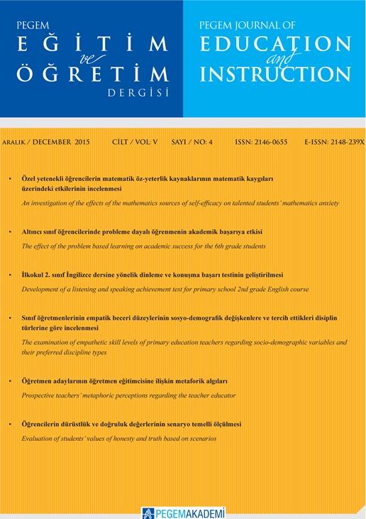 View Vol. 5 No. 4 (2015): Pegem Eğitim ve Öğretim Dergisi
