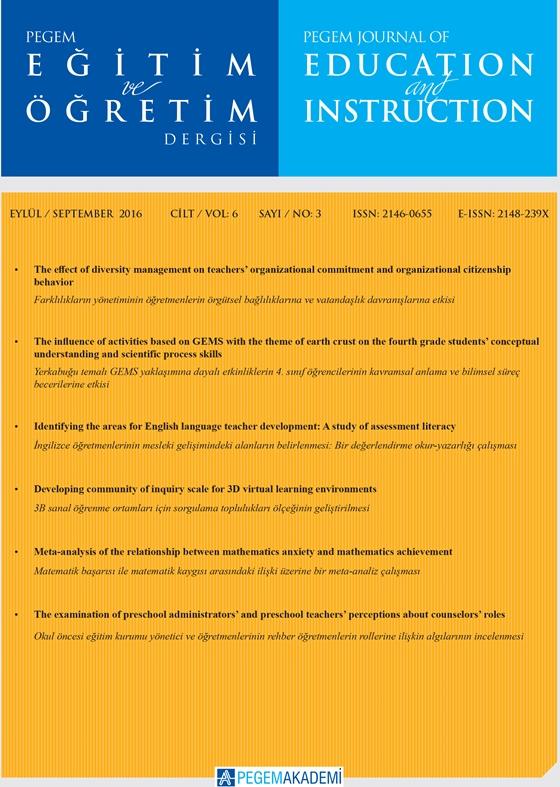 View Vol. 6 No. 3 (2016): Pegem Eğitim ve Öğretim Dergisi