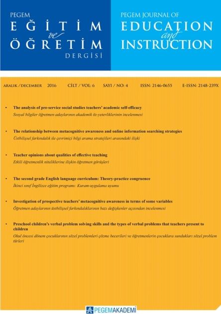 View Vol. 6 No. 4 (2016): Pegem Eğitim ve Öğretim Dergisi