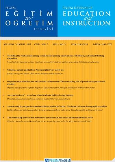 View Vol. 7 No. 3 (2017): Pegem Eğitim ve Öğretim Dergisi