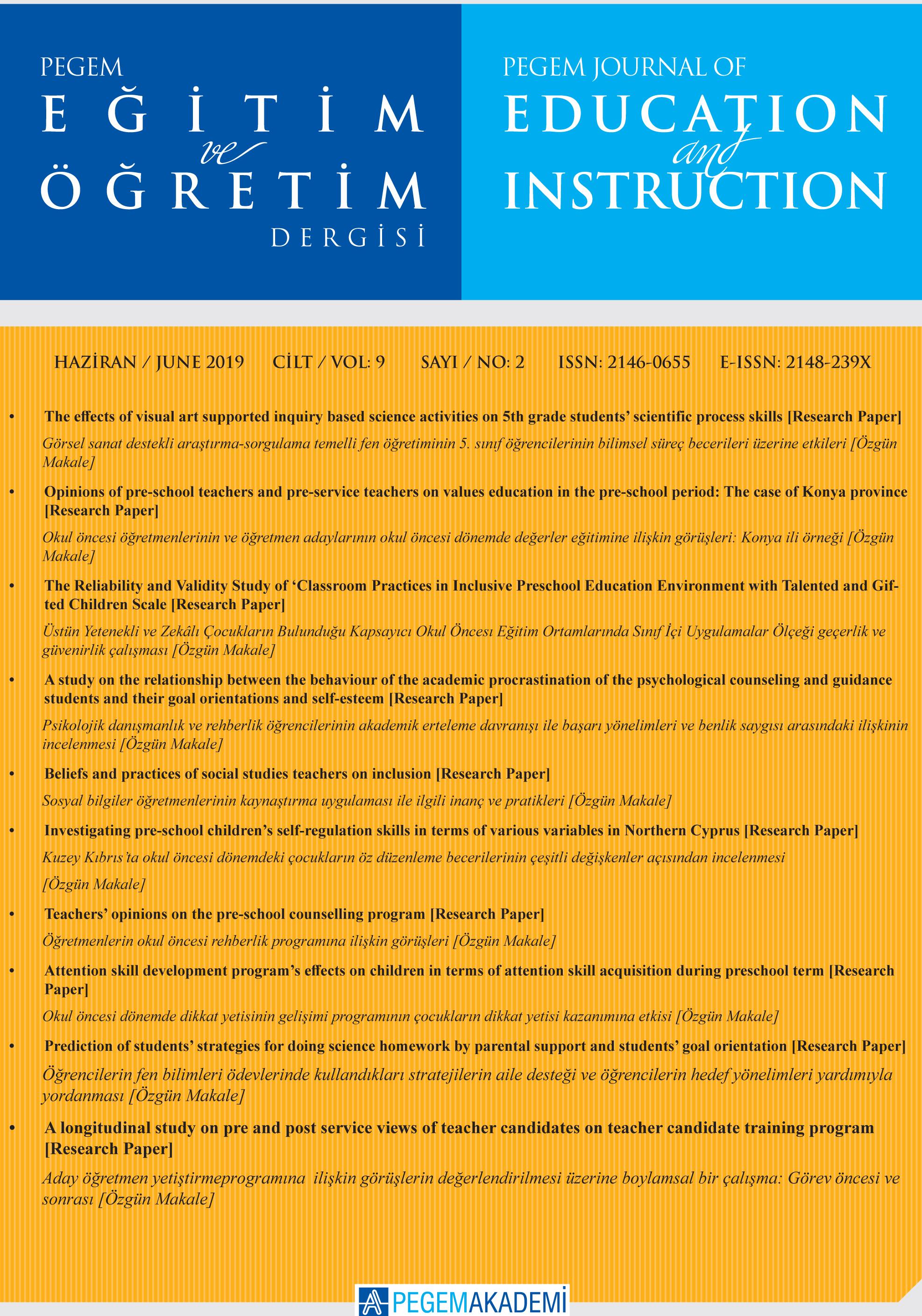 View Vol. 9 No. 2 (2019): Pegem Eğitim ve Öğretim Dergisi