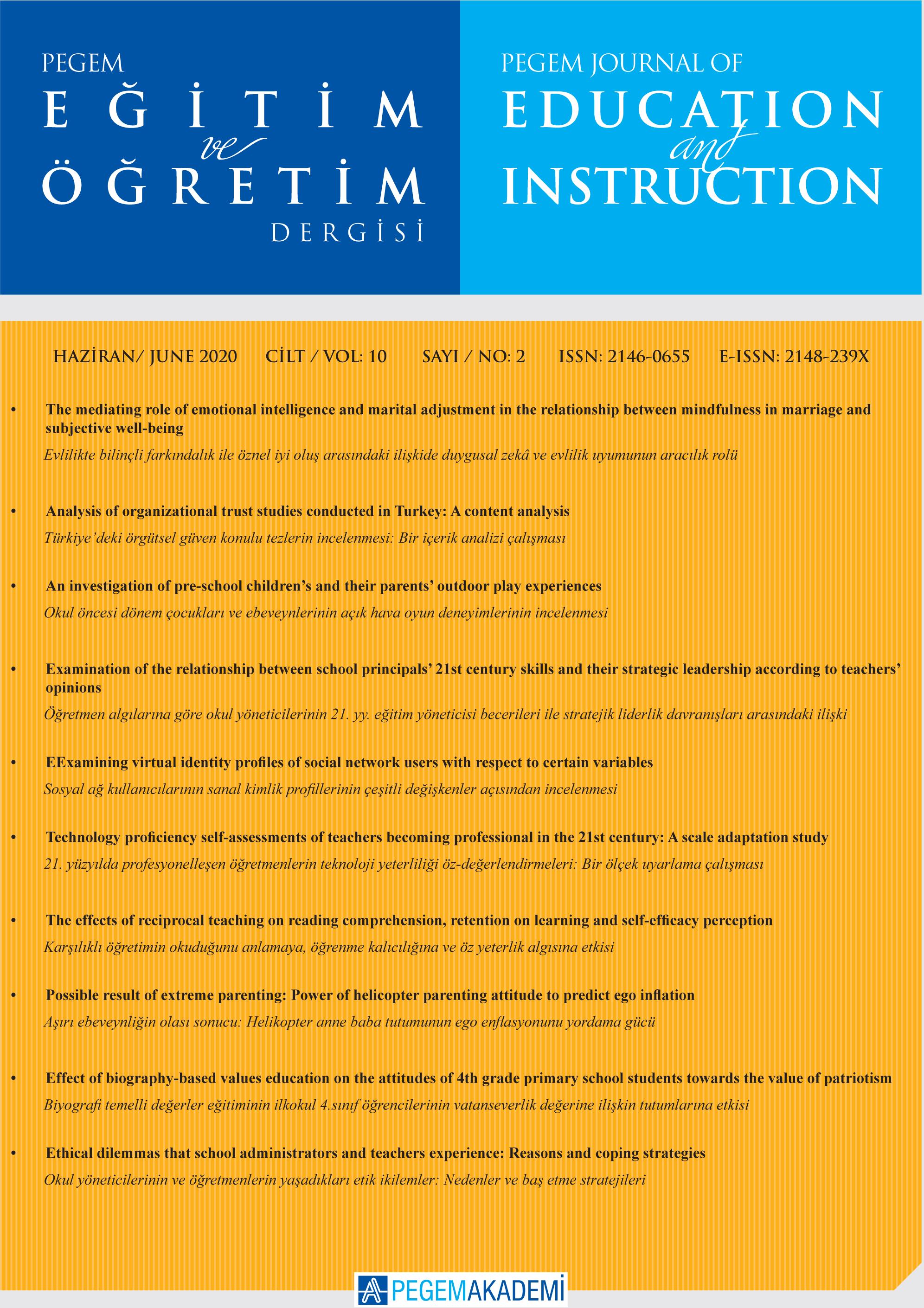 View Vol. 10 No. 2 (2020): Pegem Eğitim ve Öğretim Dergisi
