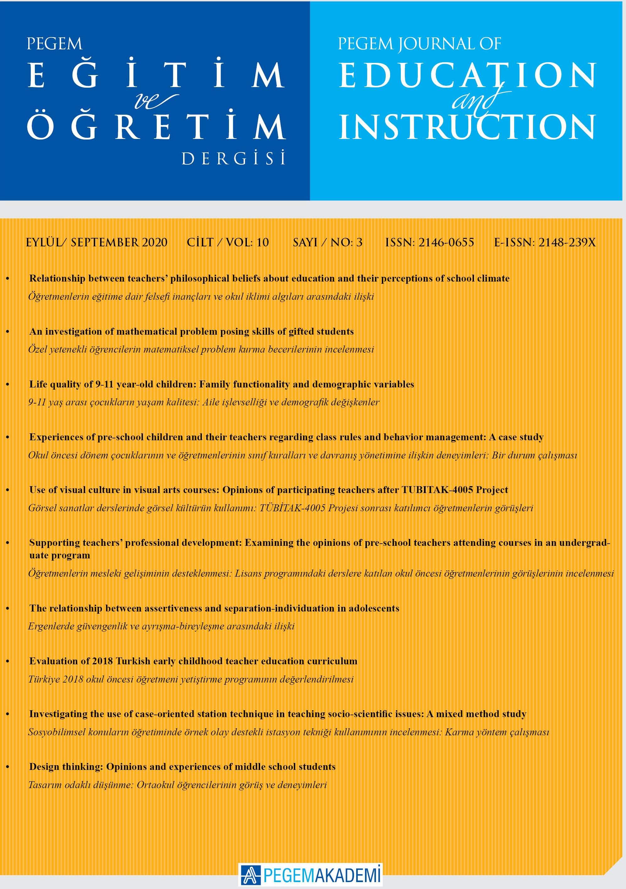 View Vol. 10 No. 3 (2020): Pegem Eğitim ve Öğretim Dergisi